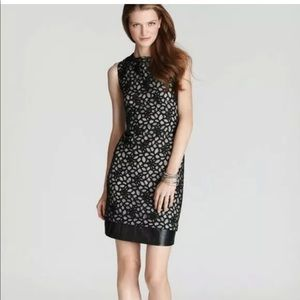 Diane von Furstenberg lace and leather dress Sz 6